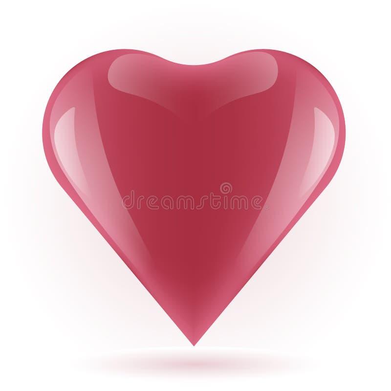 Красное сердце на белой предпосылке, иллюстрации вектора красивой красной лоснистой формы сердца, счастливого дня Валентайн, стоковое изображение