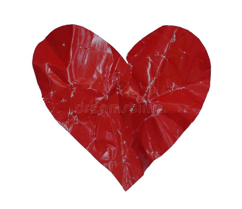 Красное сердце на скомканной бумажной текстуре стоковые изображения rf