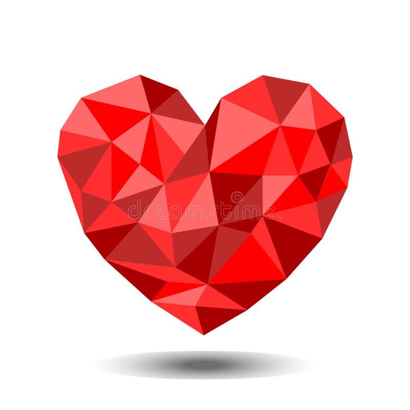 Красное сердце низко полигональное иллюстрация вектора