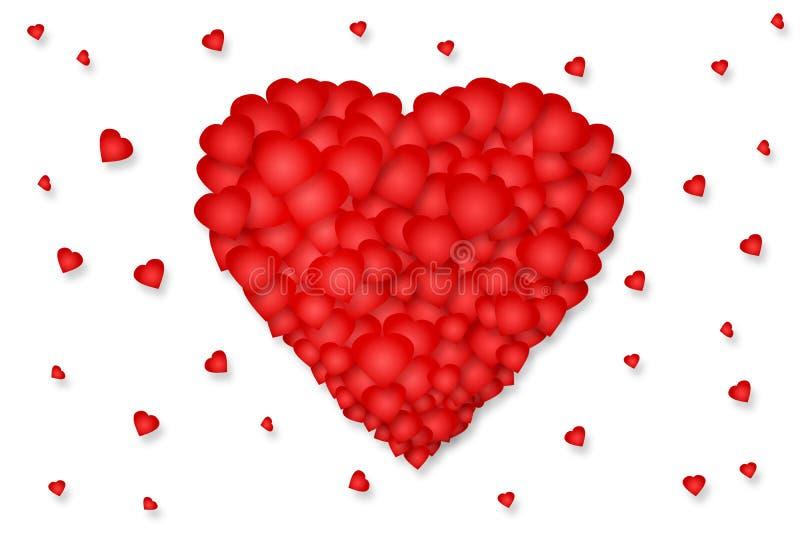Красное сердце составленное небольших сердец на белой предпосылке изолировано День ` s валентинки, предпосылка дня ` s матери бесплатная иллюстрация
