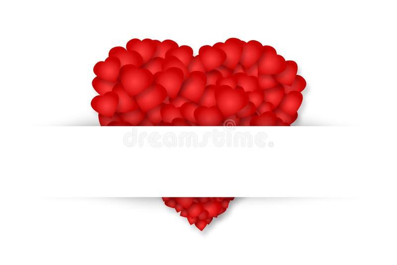 Красное сердце составленное небольших сердец на белой предпосылке изолировано День ` s валентинки, предпосылка дня ` s матери иллюстрация вектора