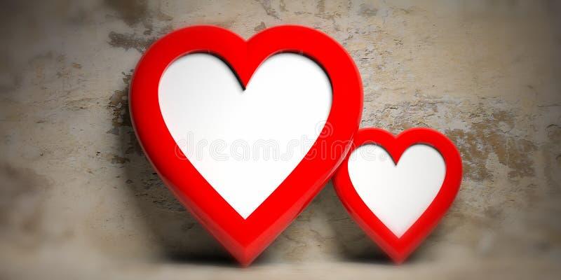 Красное сердце 2 сформировало пустые рамки на увяданной предпосылке стены, космосе экземпляра иллюстрация вектора