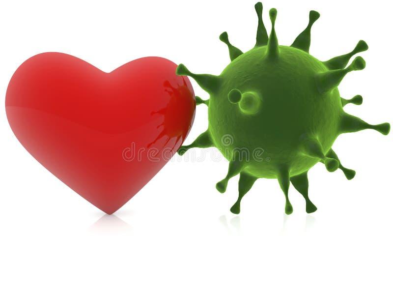 Красное сердце с зеленым вирусом иллюстрация вектора