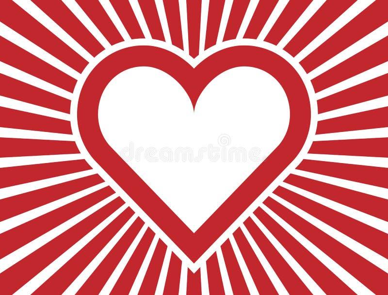 Красное сердце с радиальным laylout лучей иллюстрация вектора