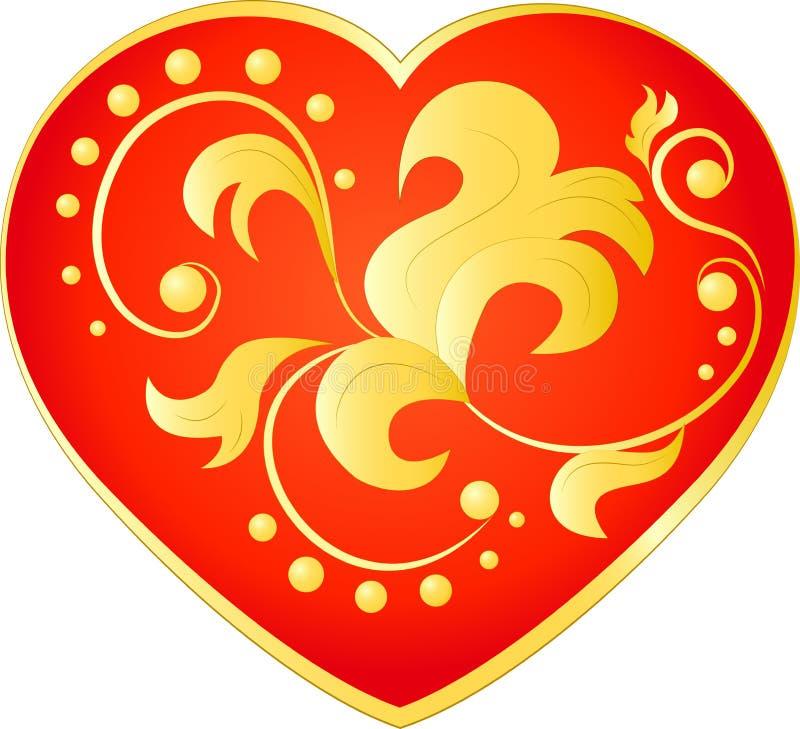 Красное сердце с цветочным узором золота иллюстрация вектора