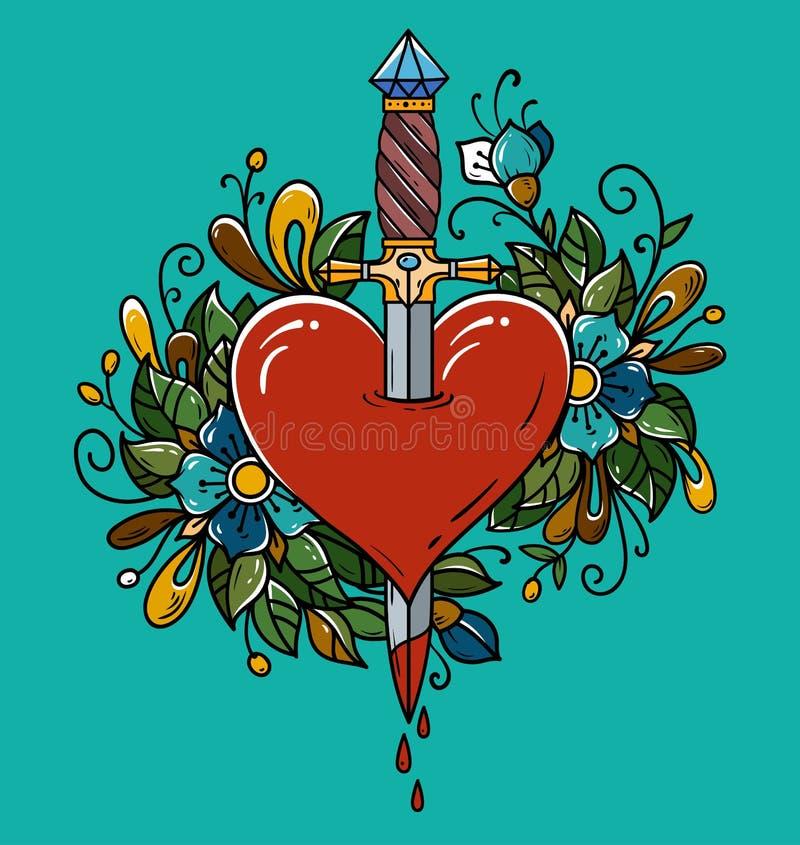 Красное сердце украшенное при цветки прокалыванные с кинжалом Сердце кинжала Tatoo piercing с кровью капания Кровотечение сердца бесплатная иллюстрация