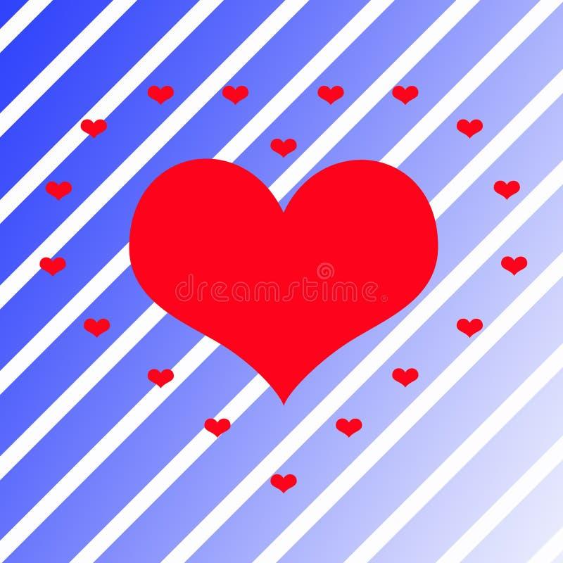 Красное сердце на предпосылке сини поворота стоковые фотографии rf
