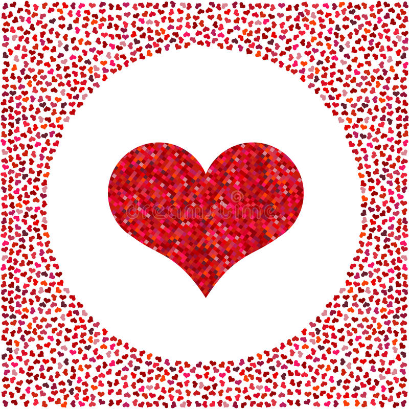 Красное сердце сделанное пикселов и маленьких сердец вокруг Предпосылка дня Валентайн иллюстрация штока