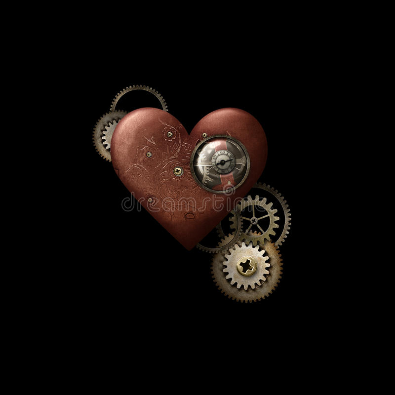 Красное сердце Steampunk на черноте стоковое фото rf