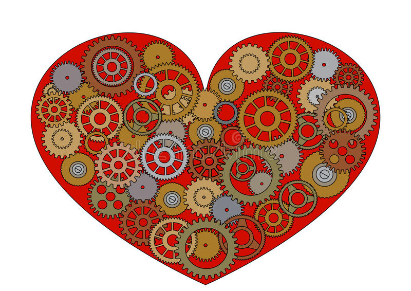 Красное сердце Steampunk иллюстрация штока