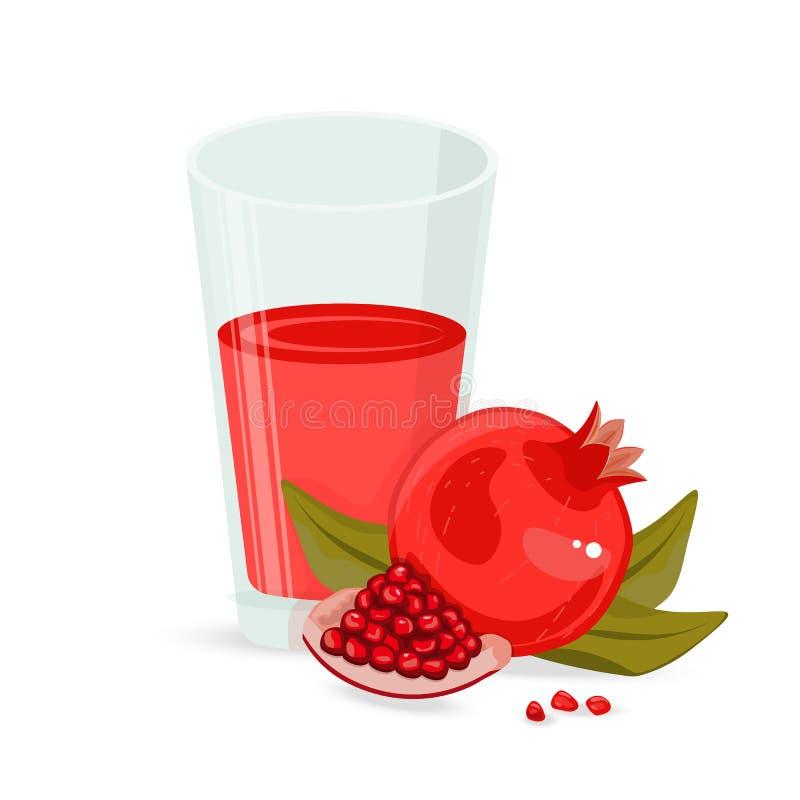 Красное стекло фруктового сока Виноградина, гранатовое дерево, питье клюквы органическое диетпитание здоровое иллюстрация вектора