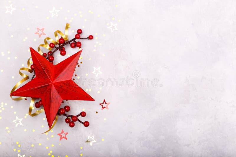 Красное украшение рождества звезды стоковое фото rf