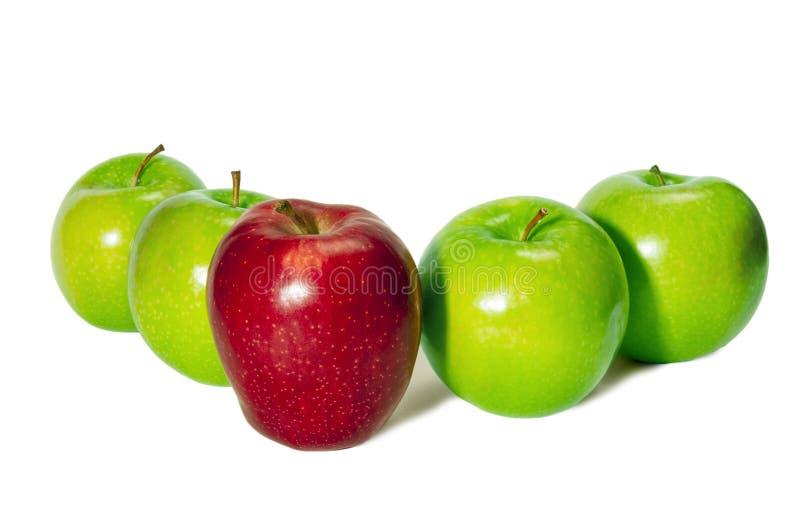 Красное Яблоко стоя перед зелеными яблоками стоковое фото
