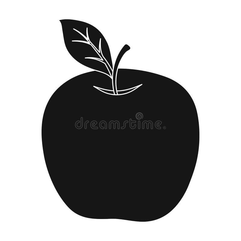 Красное яблоко Закуска на школе Обед на проломе Значок школы и образования одиночный в черном стиле vector запас символа иллюстрация вектора