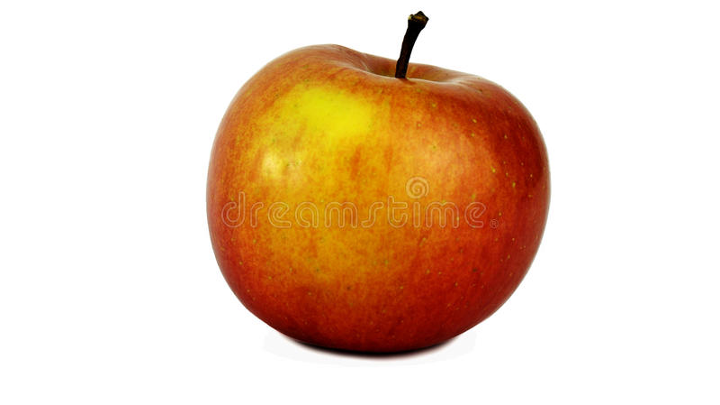 Красное яблоко с желтой стороной стоковые фотографии rf