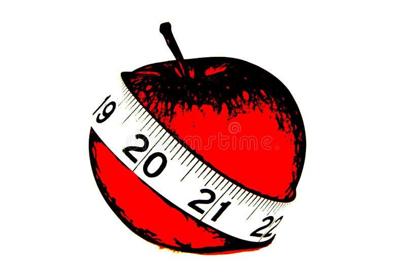 Красное яблоко с рулеткой иллюстрации иллюстрация штока