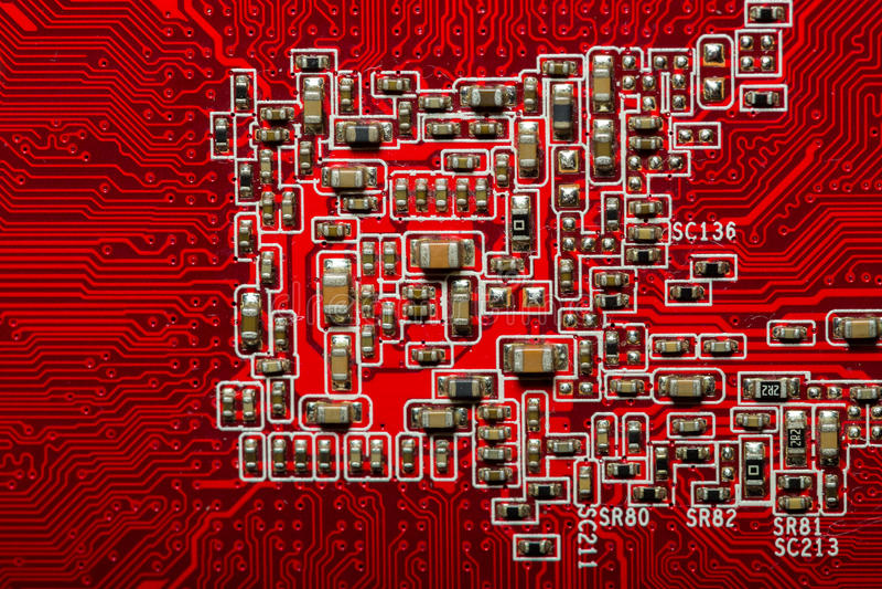 Красное circuitboard компьютера стоковые изображения rf
