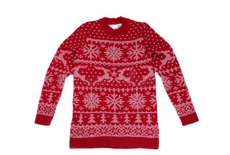 Красное ` s детей связало свитер с картиной Изолят на белизне стоковая фотография rf