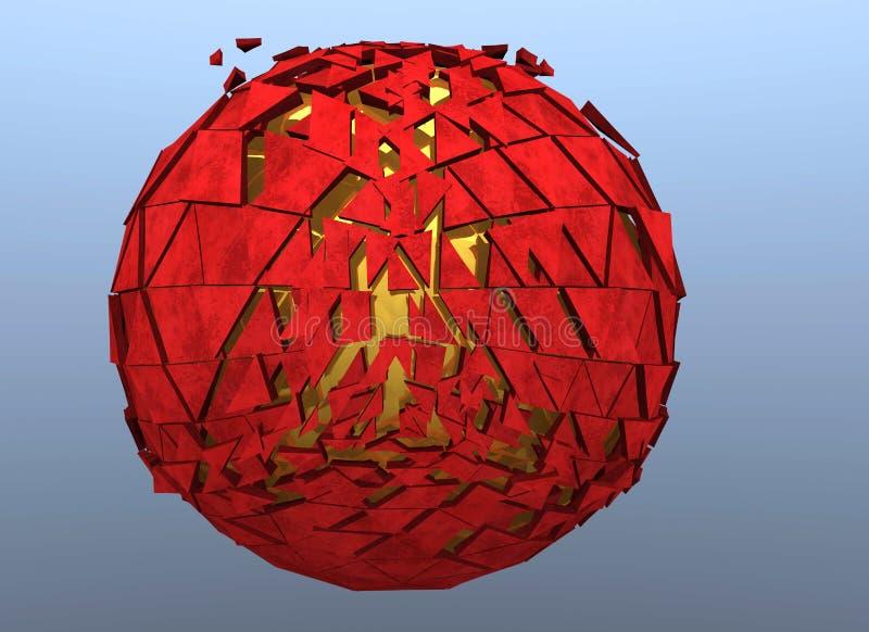 Красной изолированное 3d разрушенное сферой абстрактное иллюстрация вектора