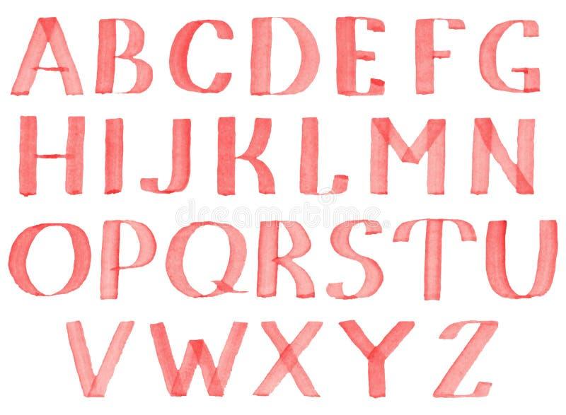 Красной нарисованный рукой шрифт акварели иллюстрация штока