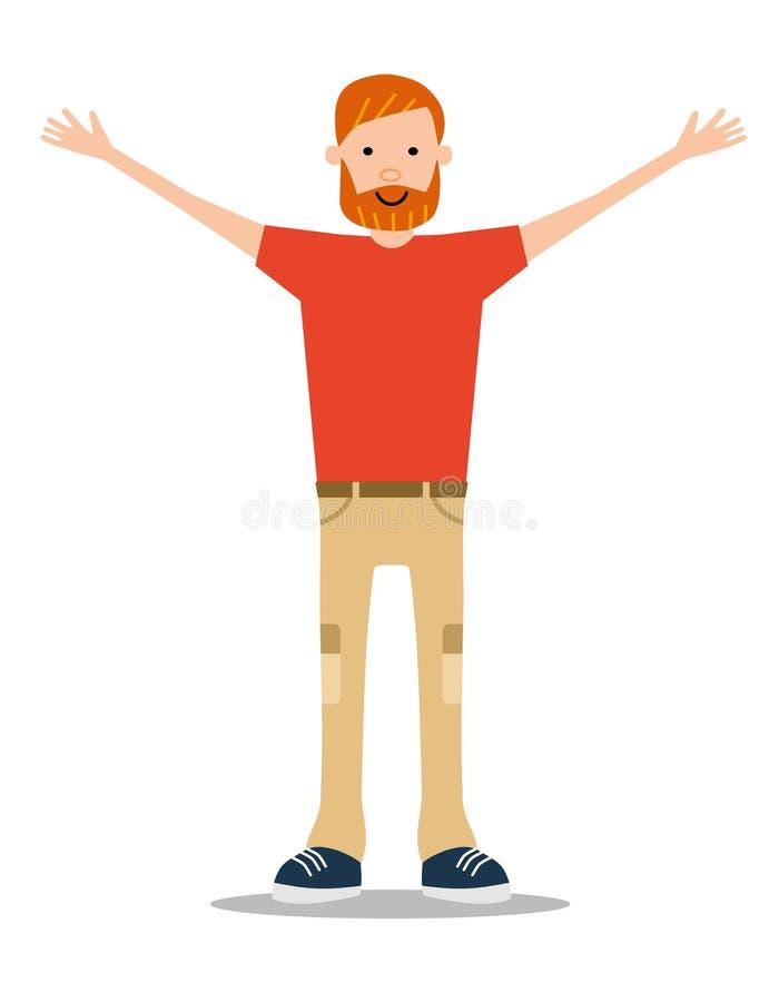 Красно-бородатый молодой человек в лете одевает счастливо развевать его h иллюстрация вектора