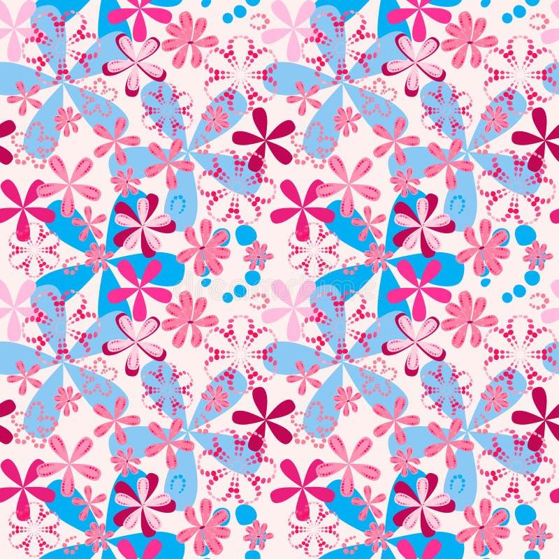 Красно-голубые простые вычерченные цветки на картине розового растра предпосылки безшовной для тканей иллюстрация вектора