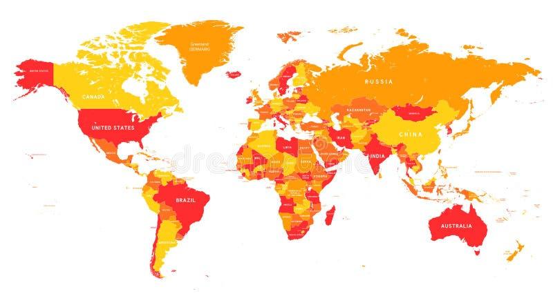 Красно-желтая карта мира вектора бесплатная иллюстрация
