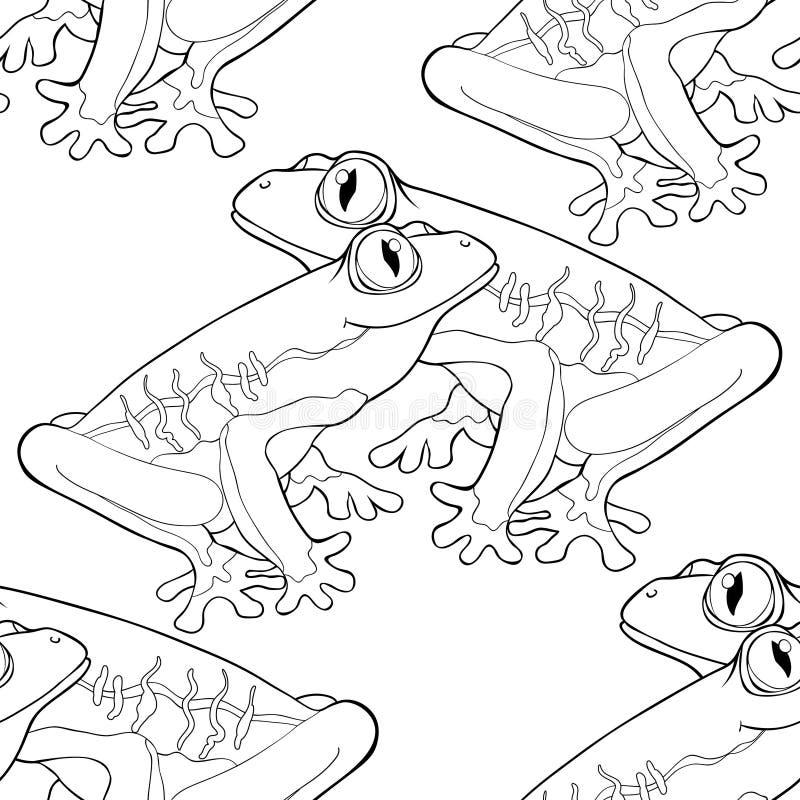 Красно-наблюдают крася лягушка безшовной картины древообразная Illustr вектора бесплатная иллюстрация