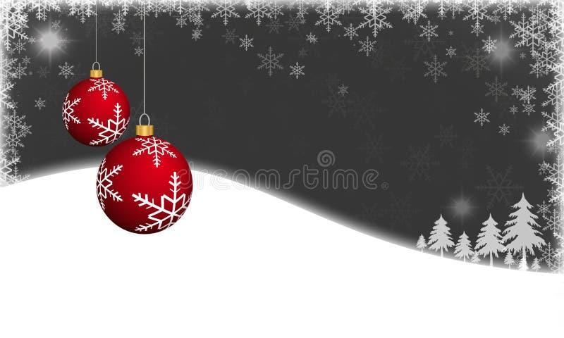 Красные безделушки рождества на предпосылке зимы бесплатная иллюстрация