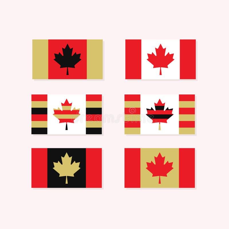Красные, белые, и золотые установленные флаги канадца бесплатная иллюстрация