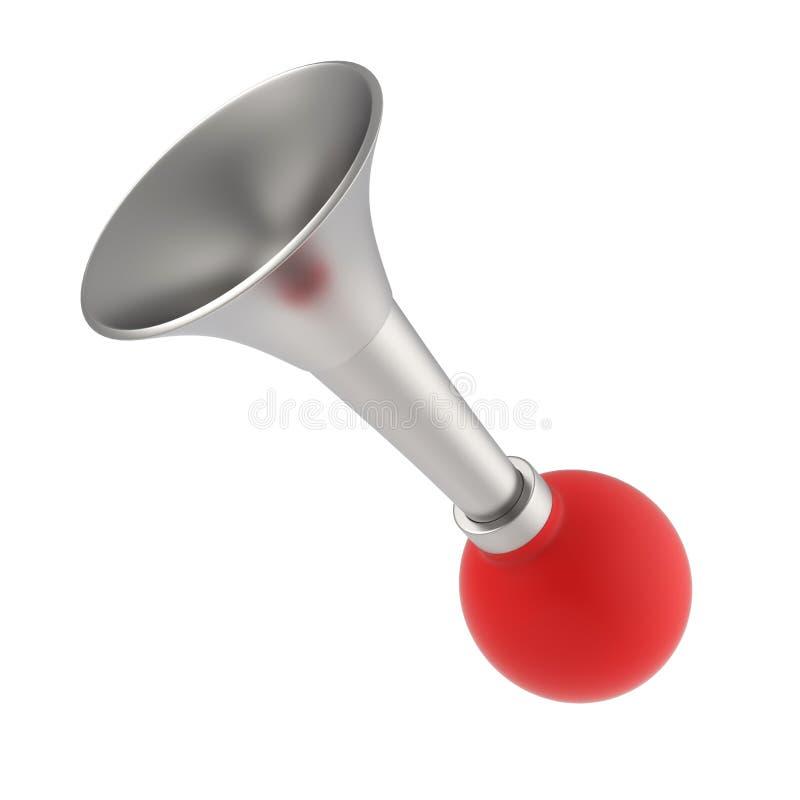 Красные винтажные klaxon или рожок изолированные на белизне иллюстрация 3d представляет стоковое фото rf