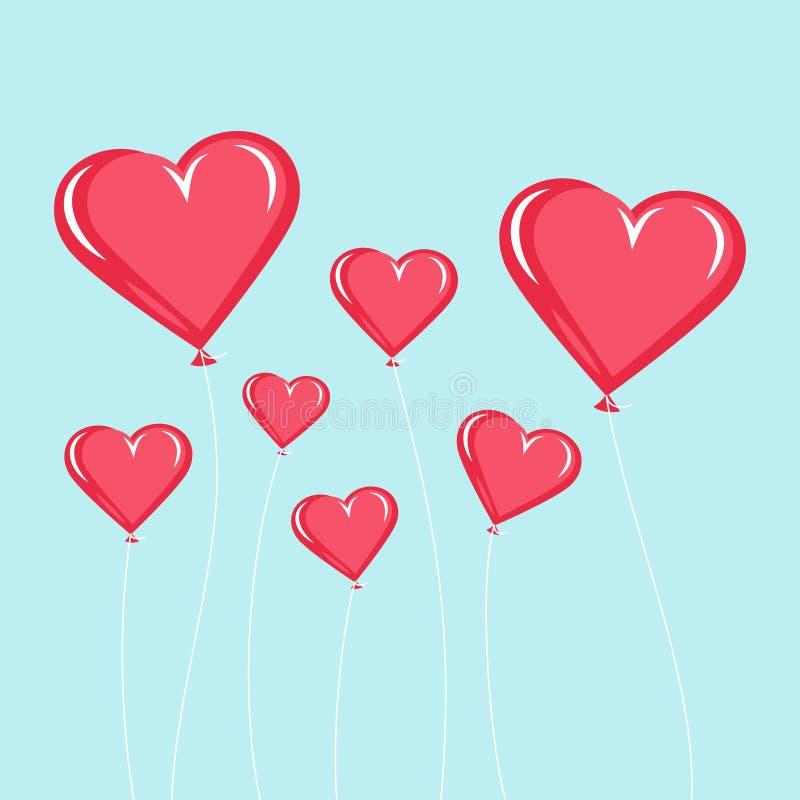 Красные воздушные шары в форме сердца иллюстрация вектора