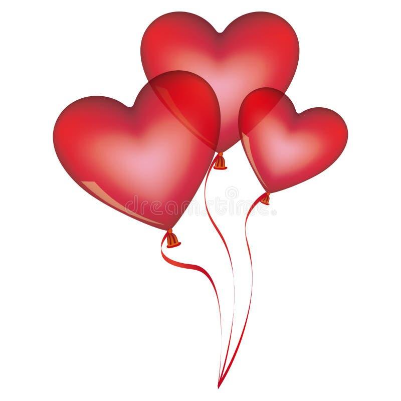 красные воздушные шары установленные в дизайн формы сердца иллюстрация вектора