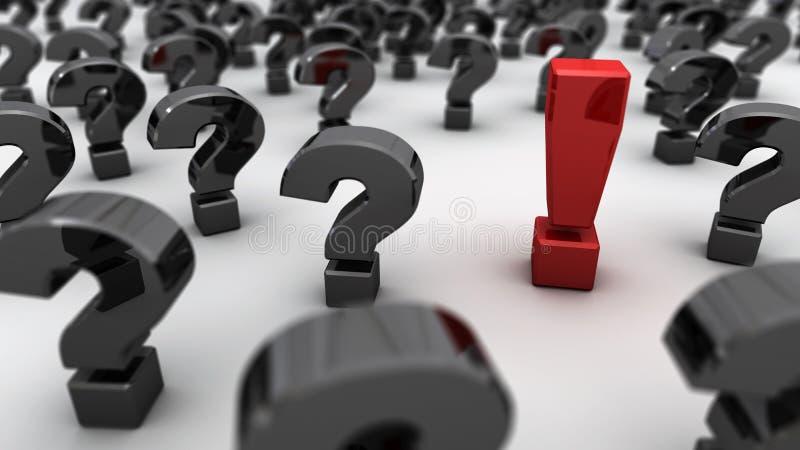 Красные вопросы о черноты восклицательного знака стоковые изображения rf
