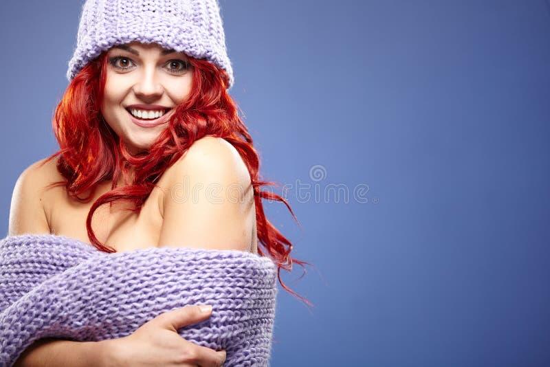 Красные волосы Портрет womanl моды стоковое фото rf