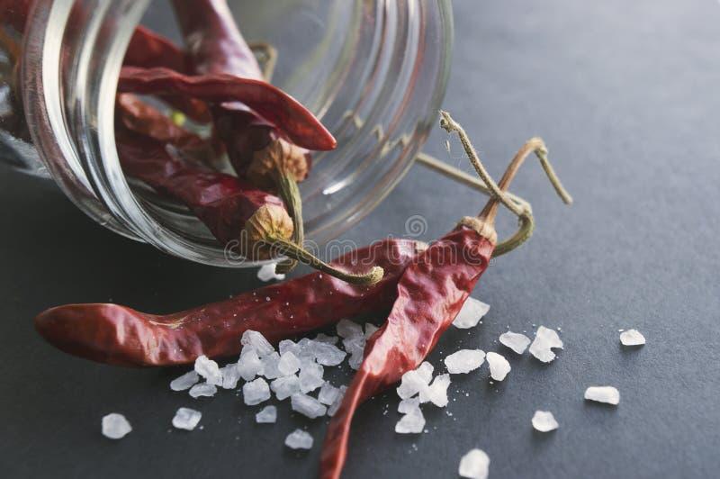 Красные высушенные перцы chili в опарнике каменщика, соль моря на черной поверхности стоковые фото