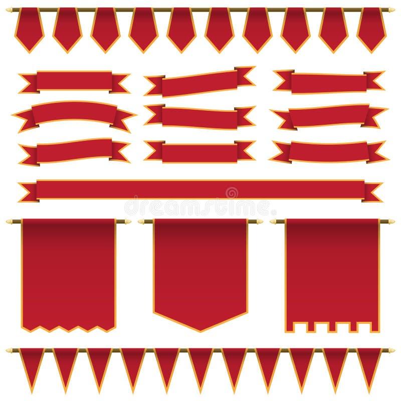 Красные ленты и знамена иллюстрация штока