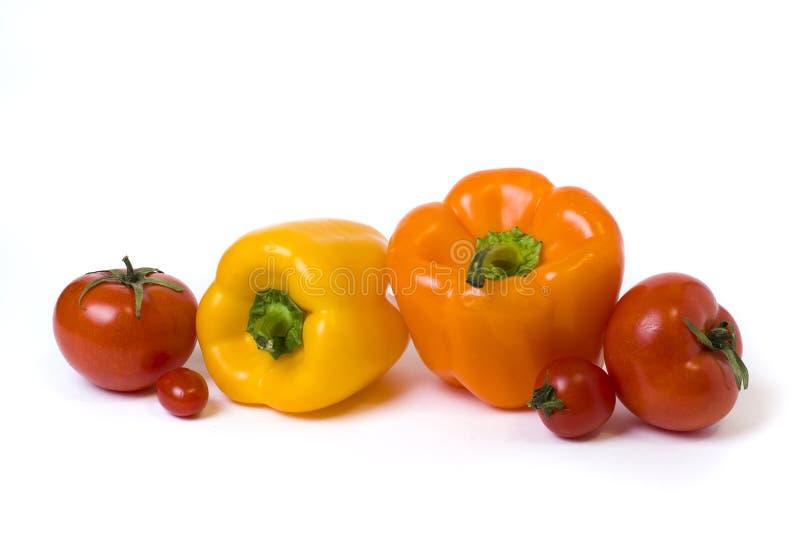 Красные желтые и оранжевые перцы с томатами на белой предпосылке стоковое фото