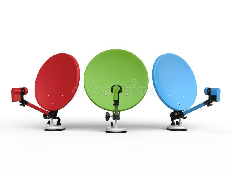 Красные, зеленые и голубые спутниковые антенна-тарелки ТВ иллюстрация штока