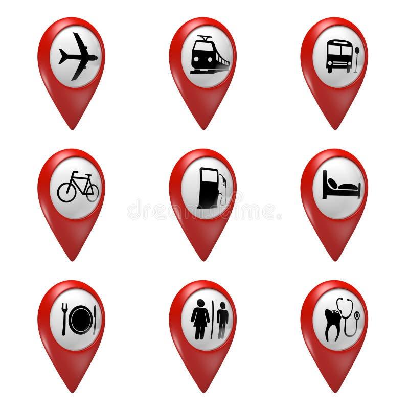 красные значки указателя карты 3D установили для перехода, гостиниц, еды, и обслуживаний иллюстрация штока
