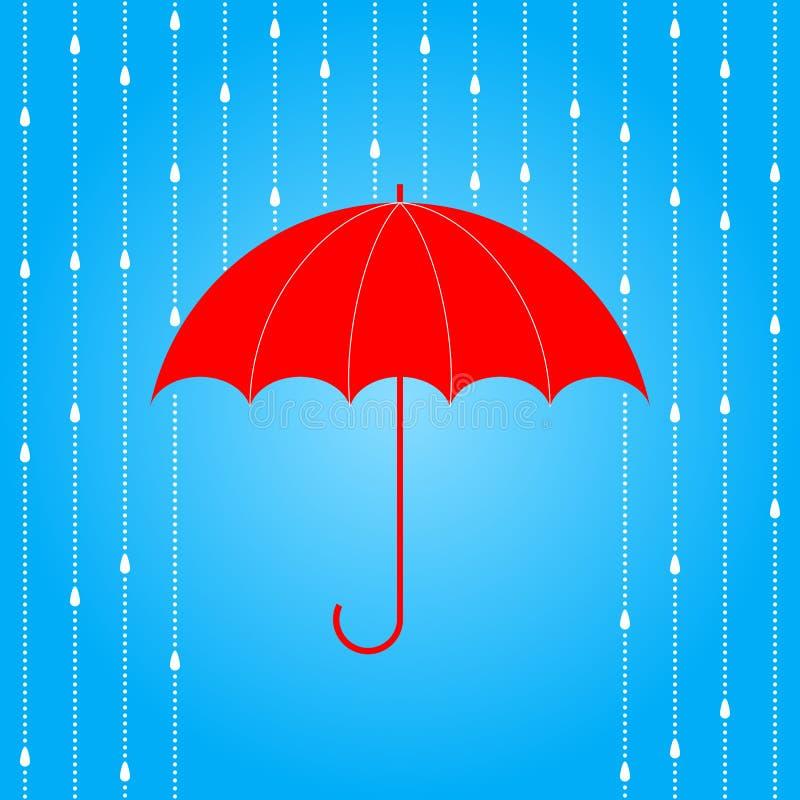 Красные зонтик и дождь иллюстрация штока