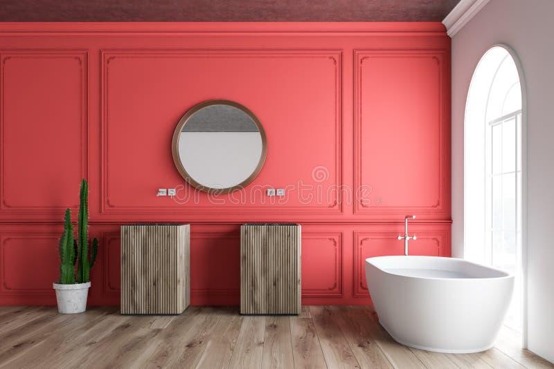 Красные интерьер, ушат и раковины bathroom иллюстрация штока