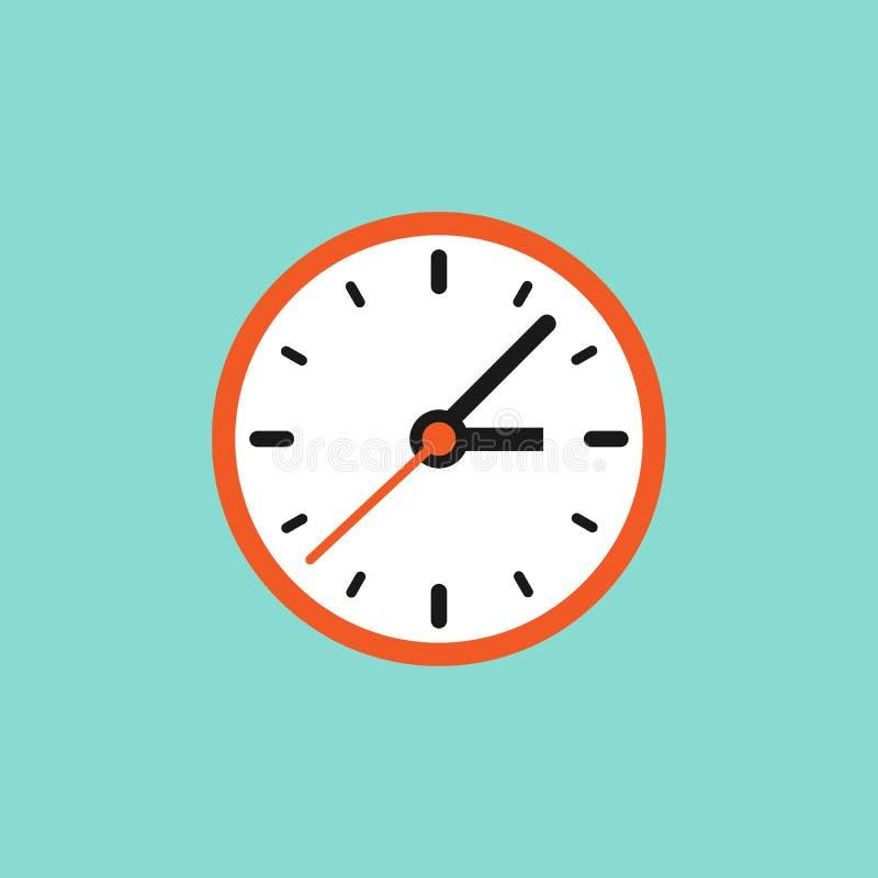 Красные и белые часы Плоская икона, изолированная на синем порошке иллюстрация штока