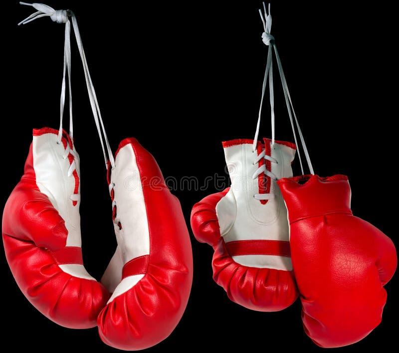 Красные и белые перчатки бокса стоковое фото rf