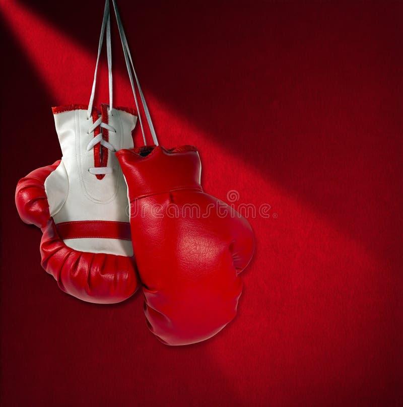 Красные и белые перчатки бокса стоковое изображение rf