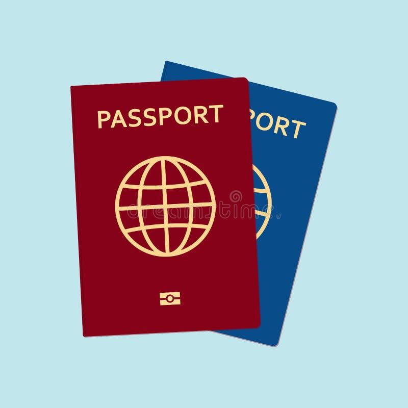Красные и голубые пасспорты в плоском стиле также вектор иллюстрации притяжки corel иллюстрация штока