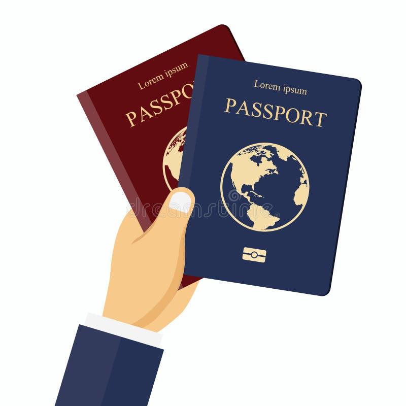 Красные и голубые пасспорты в руке Концепция для перемещения, праздника, каникул Плоский вектор иллюстрация вектора