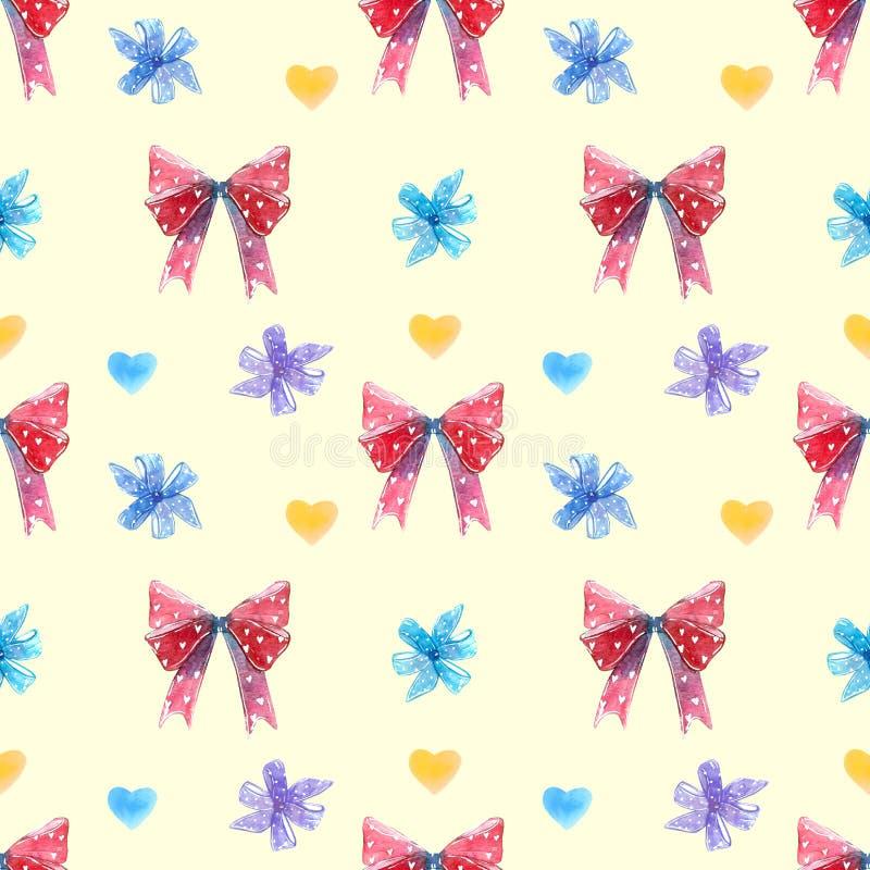 Красные и голубые смычки, высасыватель леденца на палочке свирли с картиной сердец безшовной стоковое изображение
