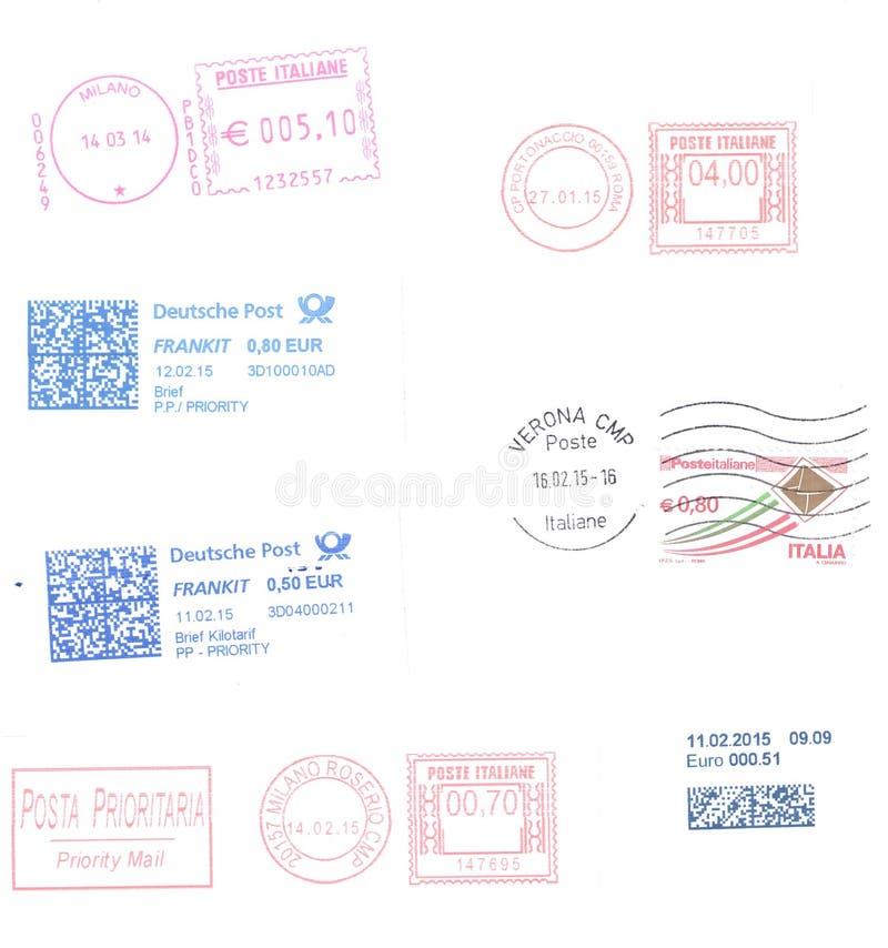 Красные и голубые европейские postmarks стоковые изображения rf