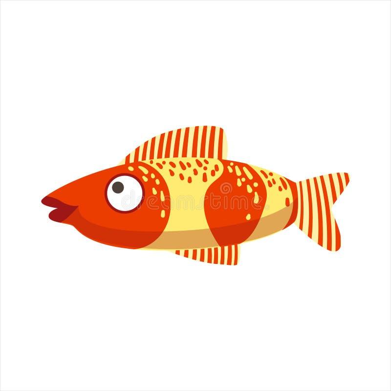Красные и желтые фантастические красочные рыбы аквариума, животное тропического рифа акватическое иллюстрация штока